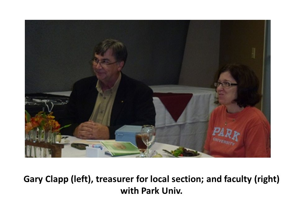 Gary Clapp (left), treasurer for local section; and faculty (right) with Park Univ.