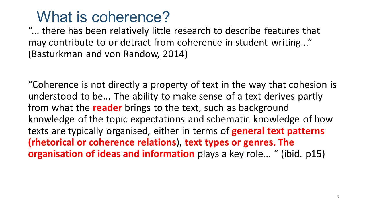 What is coherence. ...