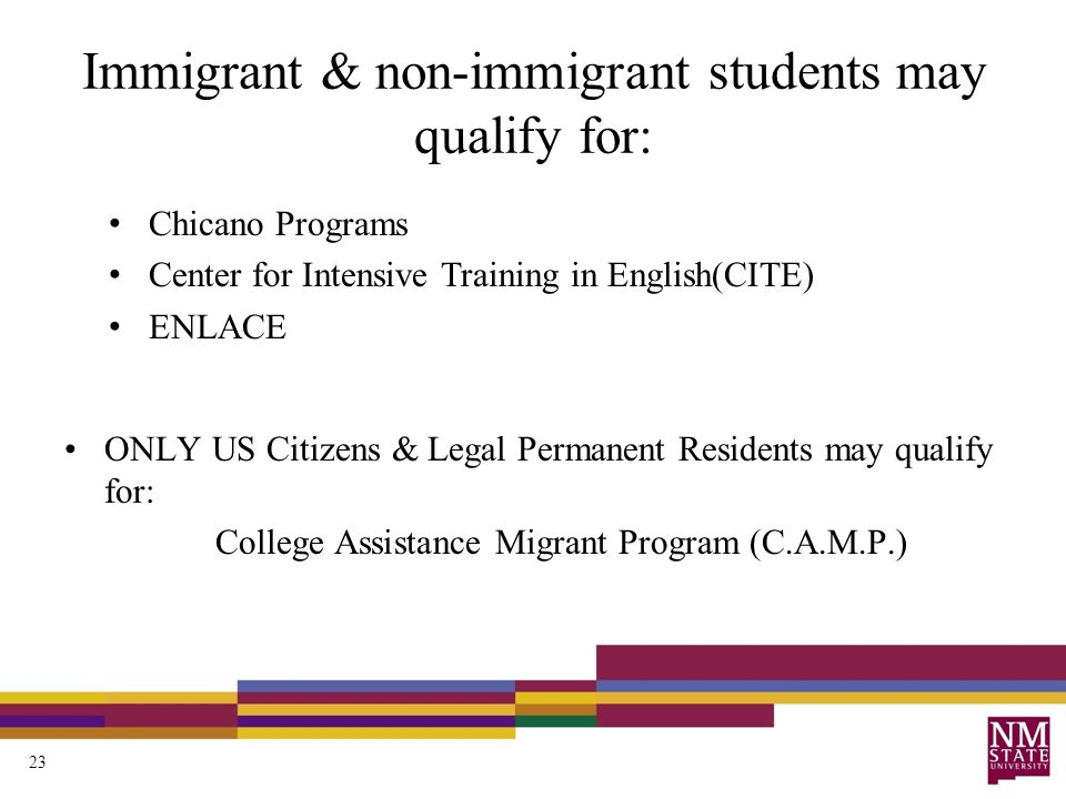 Immigrant & non-immigrant students may qualify for: ONLY US Citizens & Legal Permanent Residents may qualify for: College Assistance Migrant Program (C.A.M.P.) Chicano Programs Center for Intensive Training in English(CITE) ENLACE 23