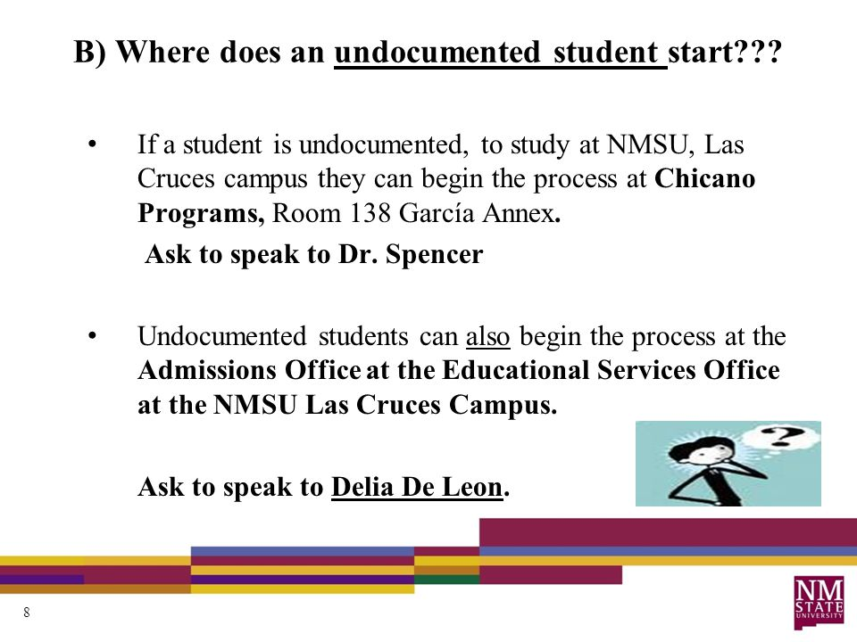 B) Where does an undocumented student start .
