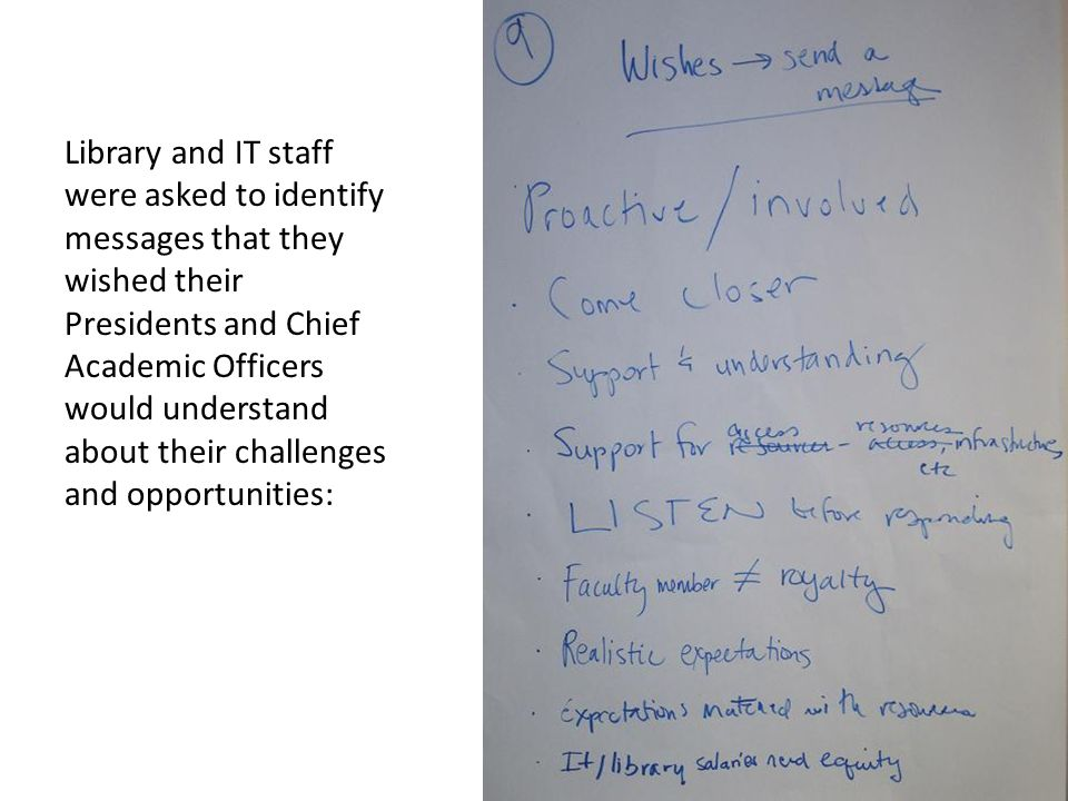 Library and IT staff were asked to identify messages that they wished their Presidents and Chief Academic Officers would understand about their challenges and opportunities:
