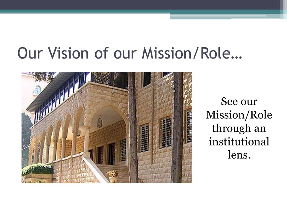 Our Vision of our Mission/Role… See our Mission/Role through an institutional lens.