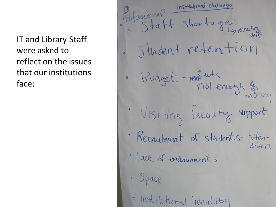 IT and Library Staff were asked to reflect on the issues that our institutions face: