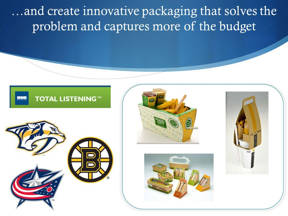 …and create innovative packaging that solves the problem and captures more of the budget