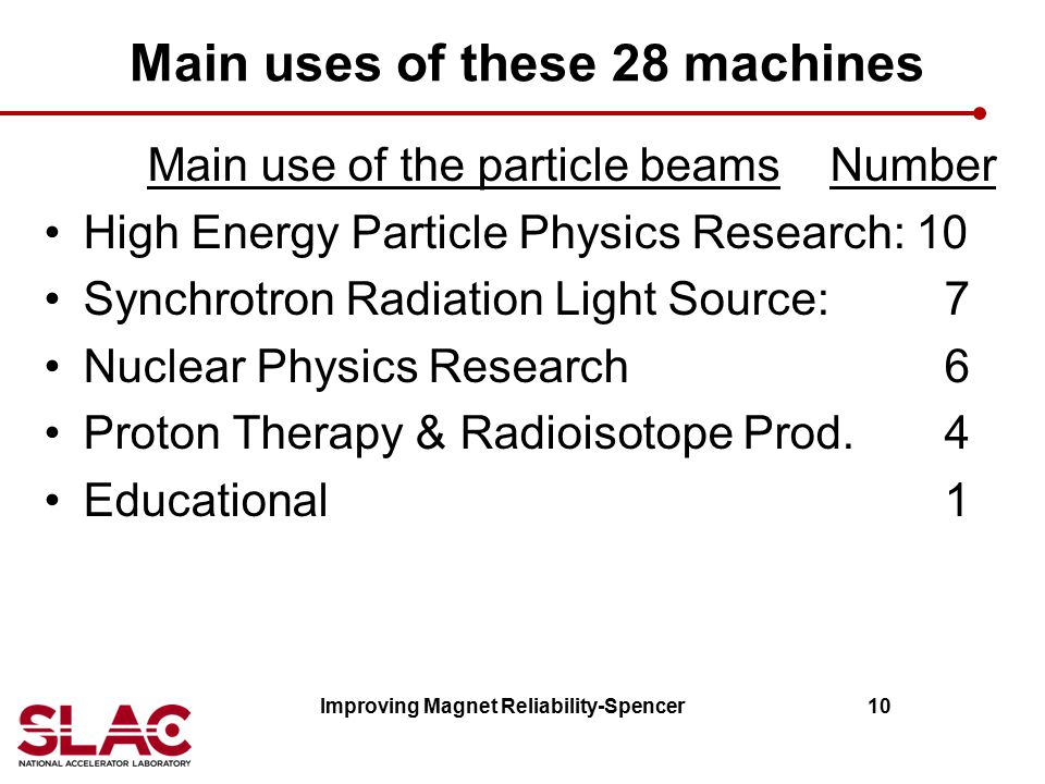 Main uses of these 28 machines Main use of the particle beams Number High Energy Particle Physics Research: 10 Synchrotron Radiation Light Source: 7 N