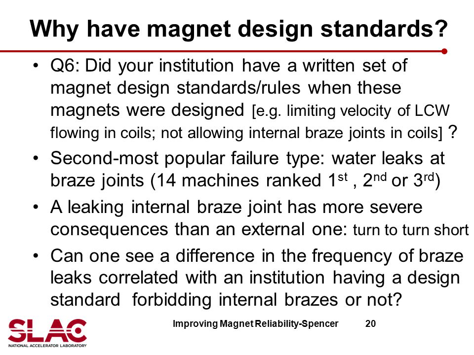 Why have magnet design standards? Q6: Did your institution have a written set of magnet design standards/rules when these magnets were designed [e.g.