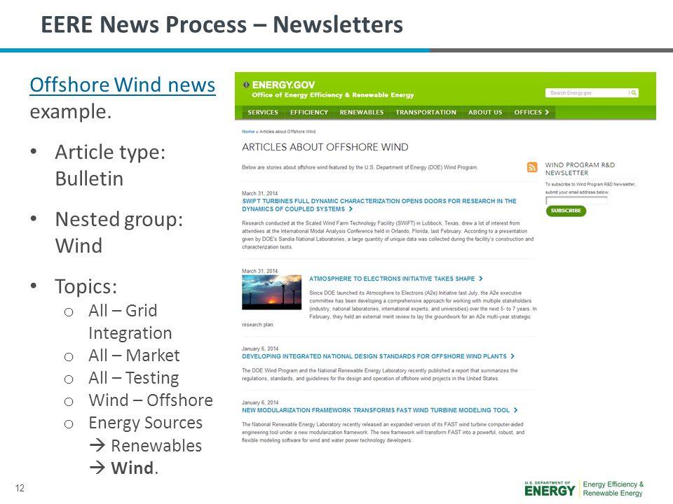 12 EERE News Process – Newsletters Offshore Wind news Offshore Wind news example.