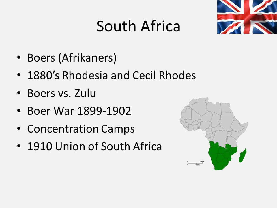South Africa Boers (Afrikaners) 1880's Rhodesia and Cecil Rhodes Boers vs.