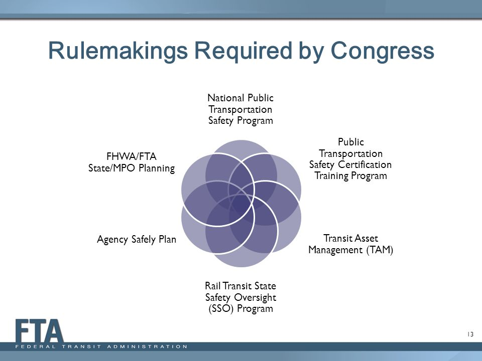 13 Rulemakings Required by Congress National Public Transportation Safety Program Public Transportation Safety Certification Training Program Transit