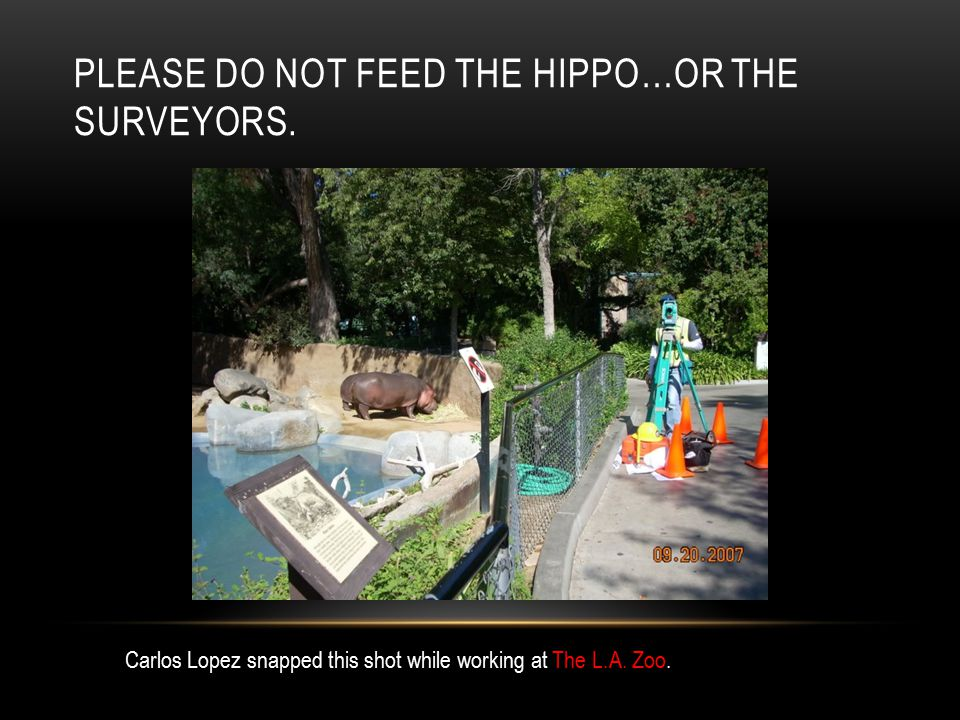 PLEASE DO NOT FEED THE HIPPO…OR THE SURVEYORS. Carlos Lopez snapped this shot while working at The L.A. Zoo.