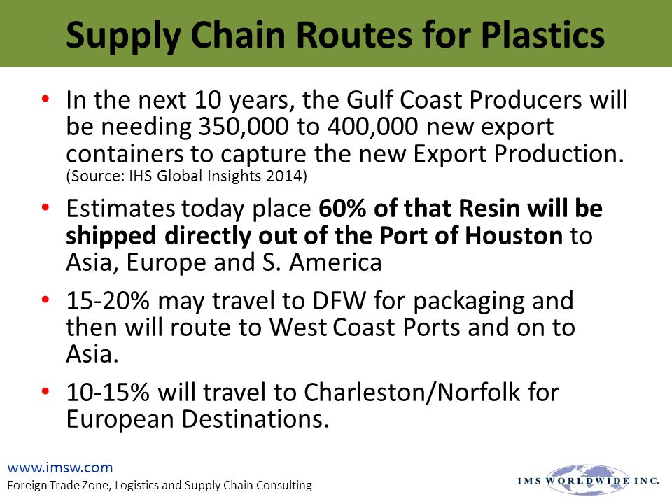 In the next 10 years, the Gulf Coast Producers will be needing 350,000 to 400,000 new export containers to capture the new Export Production.