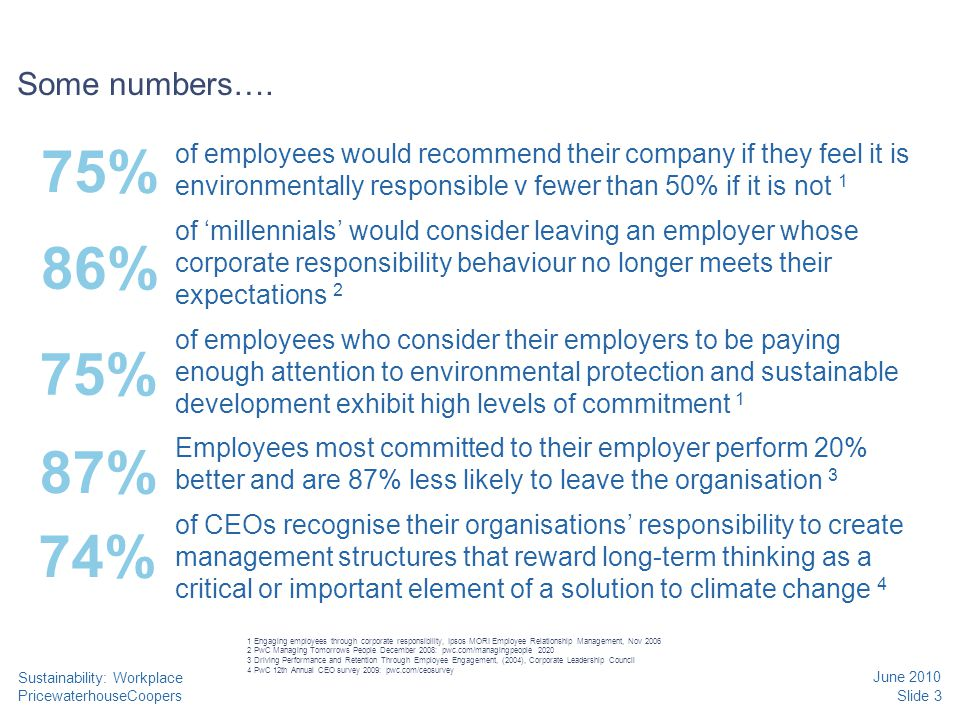 PricewaterhouseCoopers June 2010 Slide 3 Sustainability: Workplace Some numbers….