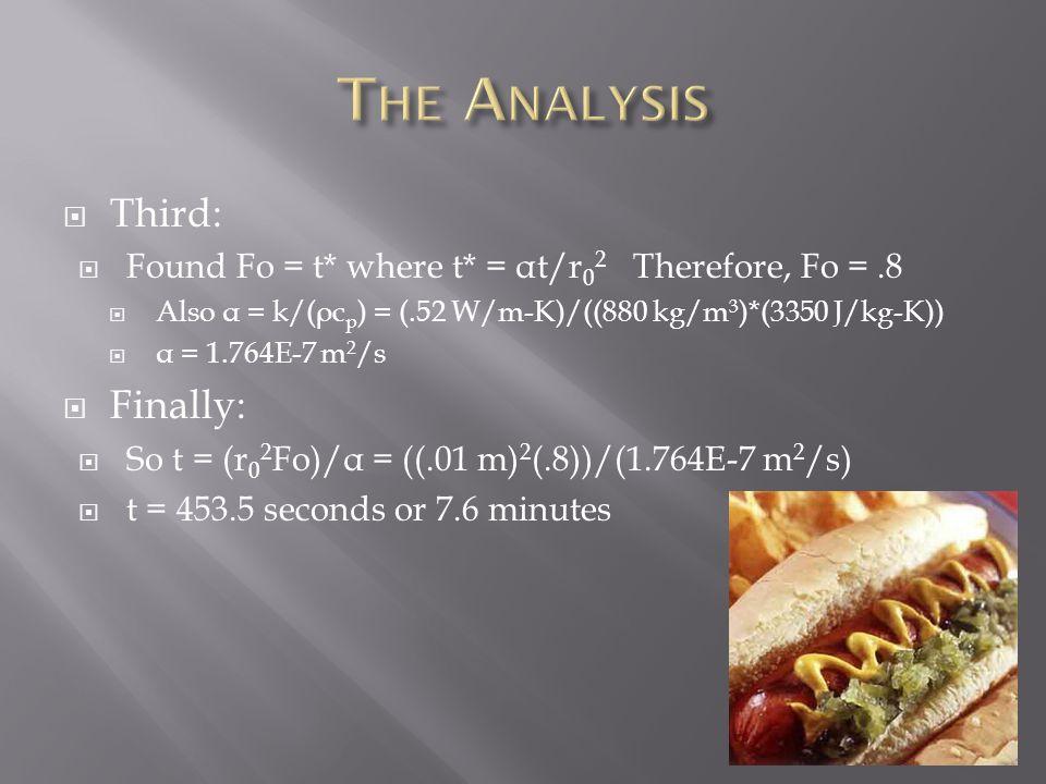  Third:  Found Fo = t* where t* = α t/r 0 2 Therefore, Fo =.8  Also α = k/( ρ c p ) = (.52 W/m-K)/((880 kg/m 3 )*(3350 J/kg-K))  α = 1.764E-7 m 2 /s  Finally:  So t = (r 0 2 Fo)/ α = ((.01 m) 2 (.8))/(1.764E-7 m 2 /s)  t = 453.5 seconds or 7.6 minutes