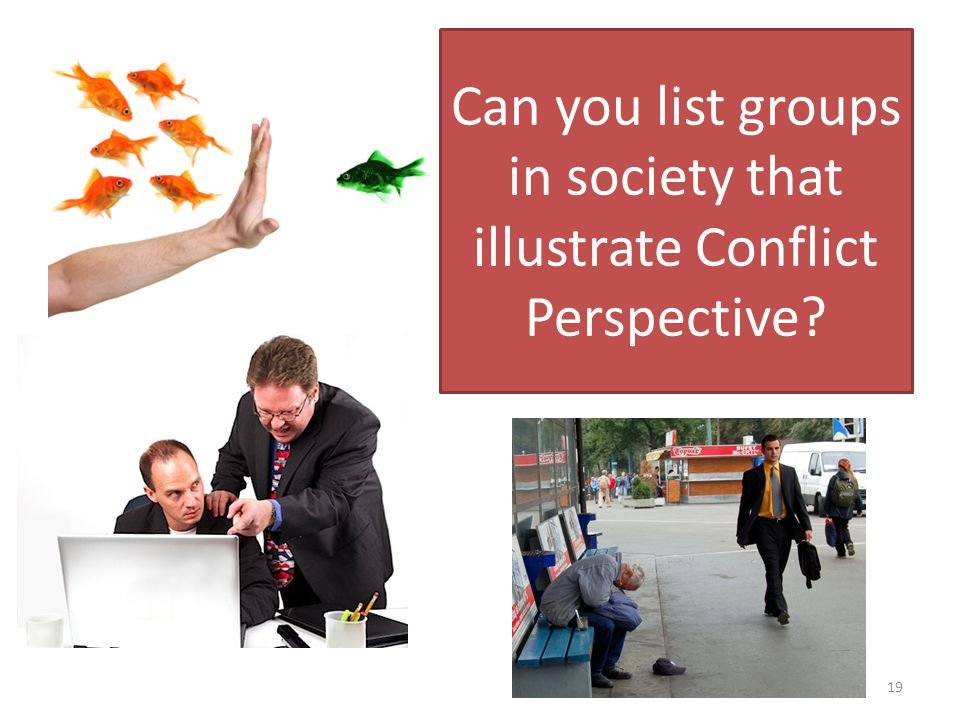 Can you list groups in society that illustrate Conflict Perspective 19
