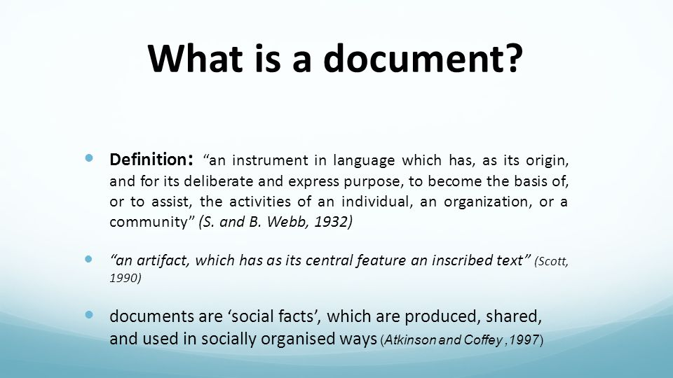 Why use documents .