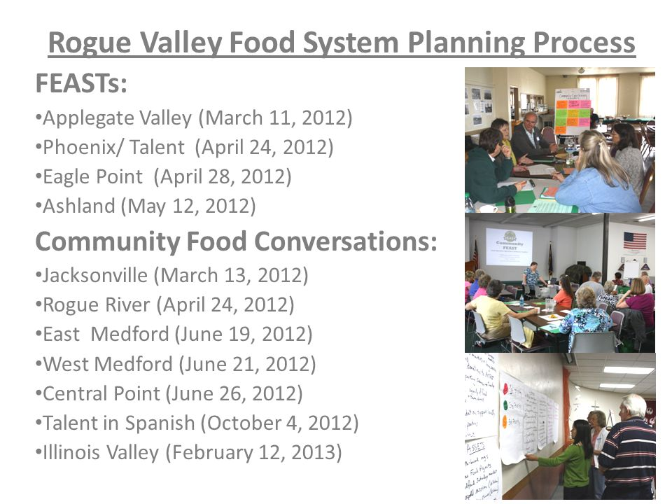 Rogue Valley Food System Planning Process FEASTs: Applegate Valley (March 11, 2012) Phoenix/ Talent (April 24, 2012) Eagle Point (April 28, 2012) Ashland (May 12, 2012) Community Food Conversations: Jacksonville (March 13, 2012) Rogue River (April 24, 2012) East Medford (June 19, 2012) West Medford (June 21, 2012) Central Point (June 26, 2012) Talent in Spanish (October 4, 2012) Illinois Valley (February 12, 2013)