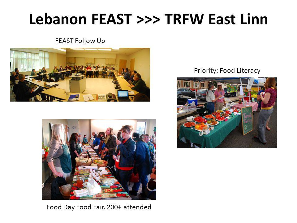 FEAST Follow Up Lebanon FEAST >>> TRFW East Linn Food Day Food Fair.