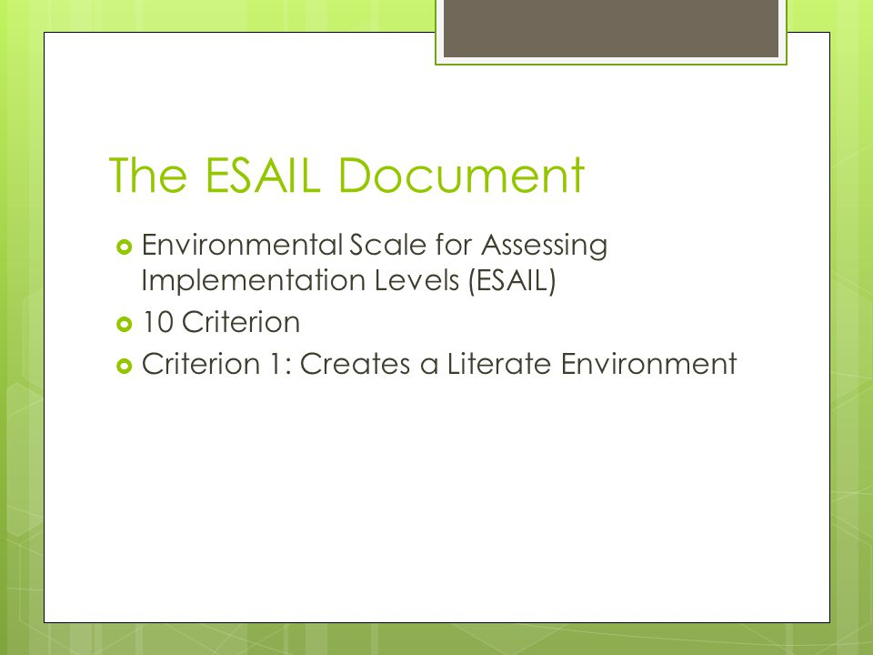 The ESAIL Document  Environmental Scale for Assessing Implementation Levels (ESAIL)  10 Criterion  Criterion 1: Creates a Literate Environment