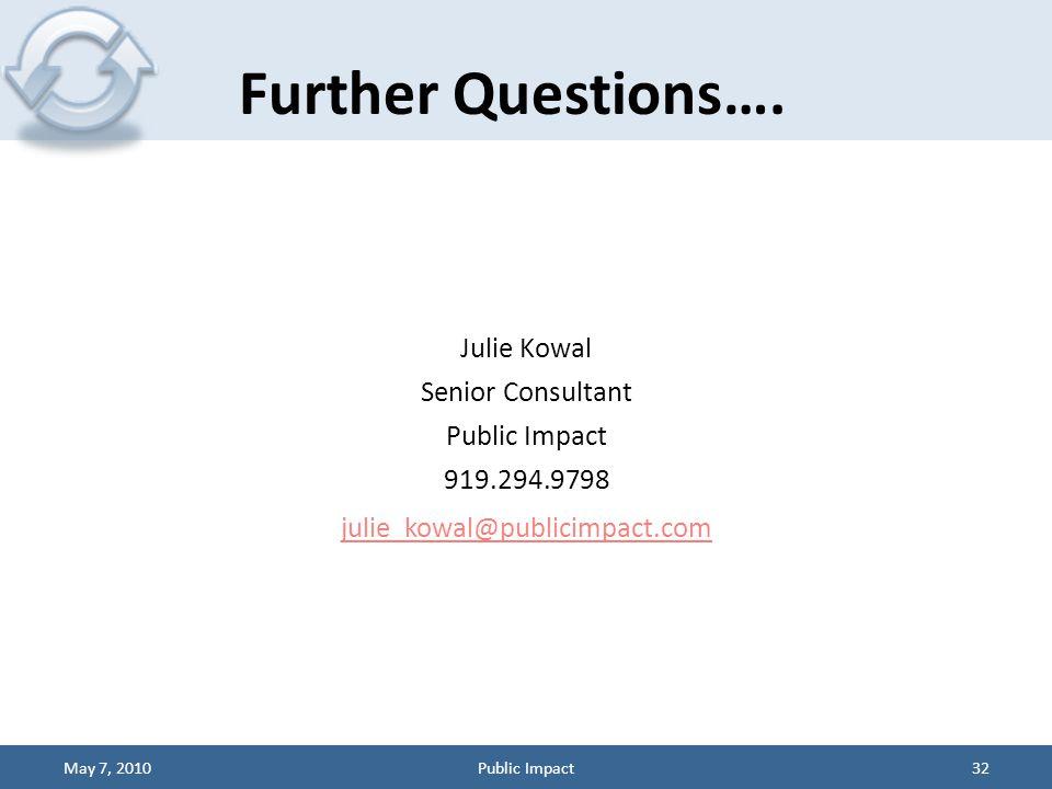 Julie Kowal Senior Consultant Public Impact 919.294.9798 julie_kowal@publicimpact.com Further Questions….