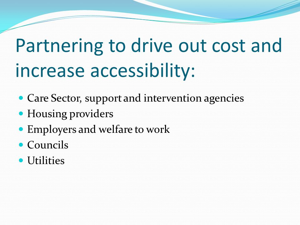 Partnering to drive out cost and increase accessibility: Care Sector, support and intervention agencies Housing providers Employers and welfare to work Councils Utilities