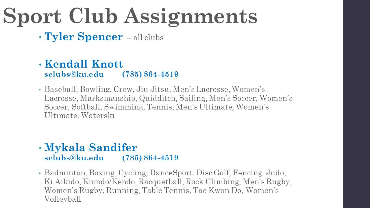 Sport Club Assignments Tyler Spencer – all clubs Kendall Knott sclubs@ku.edu(785) 864-4519 Baseball, Bowling, Crew, Jiu Jitsu, Men's Lacrosse, Women's Lacrosse, Marksmanship, Quidditch, Sailing, Men's Soccer, Women's Soccer, Softball, Swimming, Tennis, Men's Ultimate, Women's Ultimate, Waterski Mykala Sandifer sclubs@ku.edu(785) 864-4519 Badminton, Boxing, Cycling, DanceSport, Disc Golf, Fencing, Judo, Ki Aikido, Kumdo/Kendo, Racquetball, Rock Climbing, Men's Rugby, Women's Rugby, Running, Table Tennis, Tae Kwon Do, Women's Volleyball