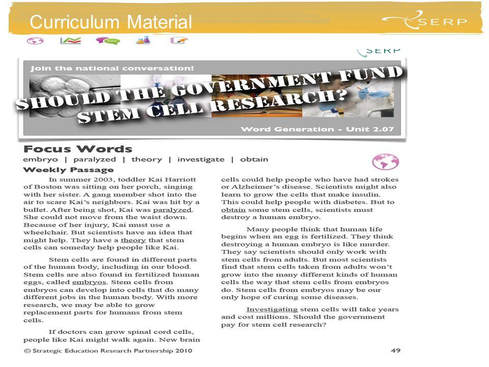 Word Generation Material Curriculum Material