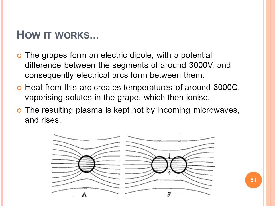 The grapes form an electric dipole, with a potential difference between the segments of around 3000V, and consequently electrical arcs form between th