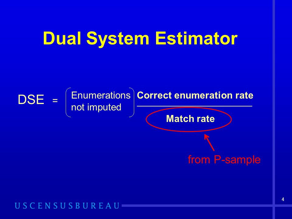 Dual System Estimator 4 DSE = Enumerations not imputed Correct enumeration rate __________________________________________ Match rate from P-sample