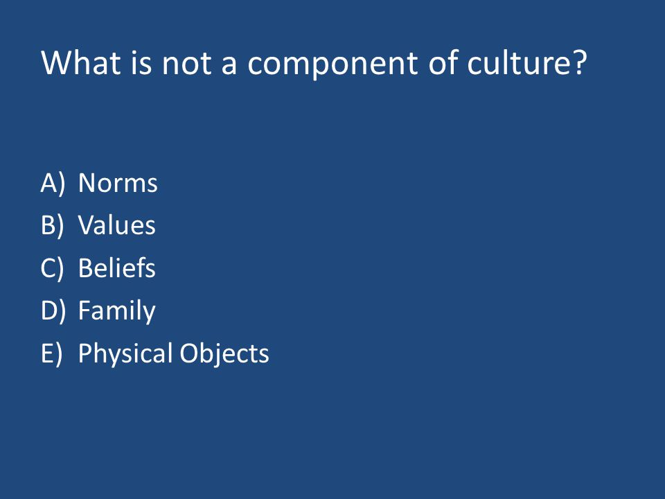 What is not a component of culture? A)Norms B)Values C)Beliefs D)Family E)Physical Objects