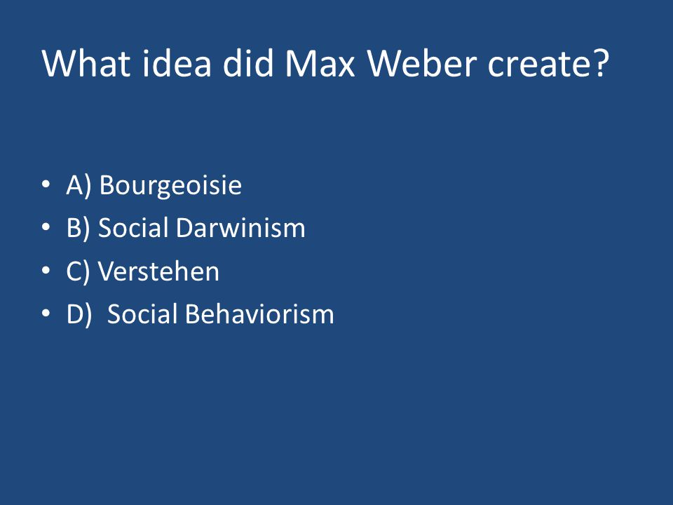 What idea did Max Weber create.