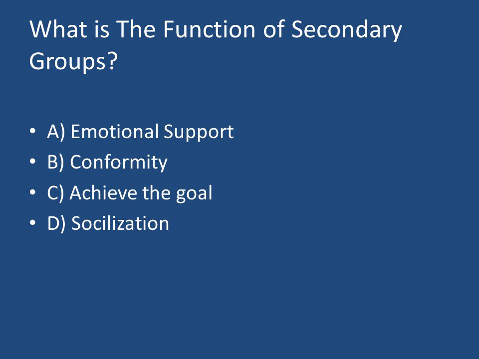 What is The Function of Secondary Groups.