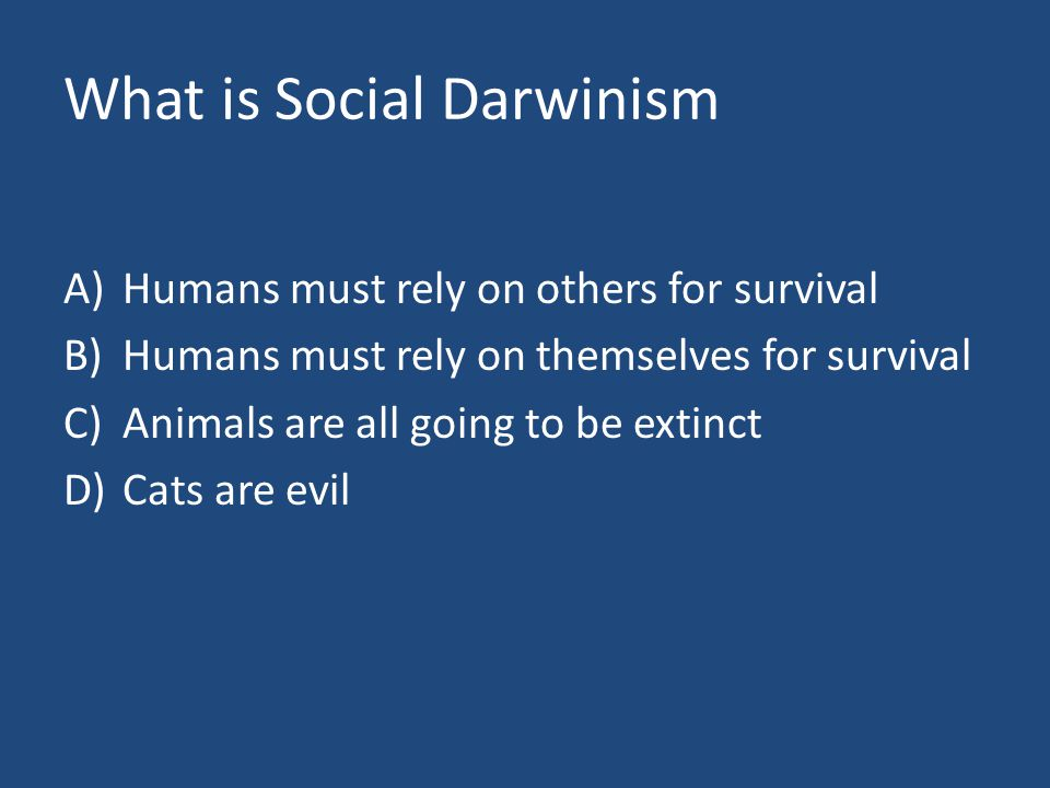 What is Social Darwinism A)Humans must rely on others for survival B)Humans must rely on themselves for survival C)Animals are all going to be extinct D)Cats are evil