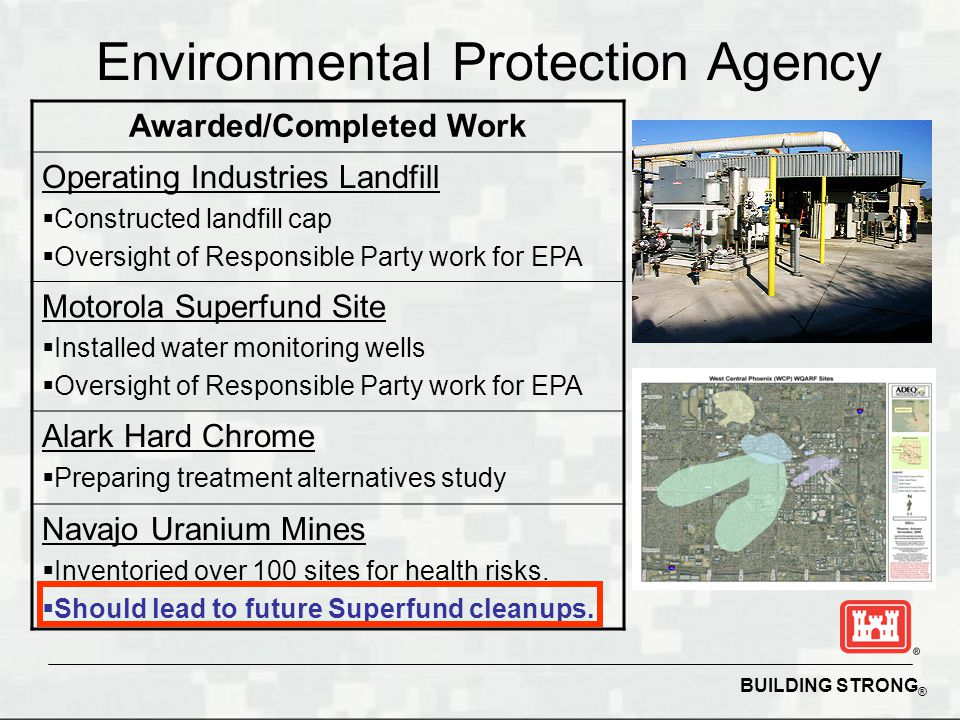 BUILDING STRONG ® Environmental Protection Agency Awarded/Completed Work Operating Industries Landfill  Constructed landfill cap  Oversight of Responsible Party work for EPA Motorola Superfund Site  Installed water monitoring wells  Oversight of Responsible Party work for EPA Alark Hard Chrome  Preparing treatment alternatives study Navajo Uranium Mines  Inventoried over 100 sites for health risks.