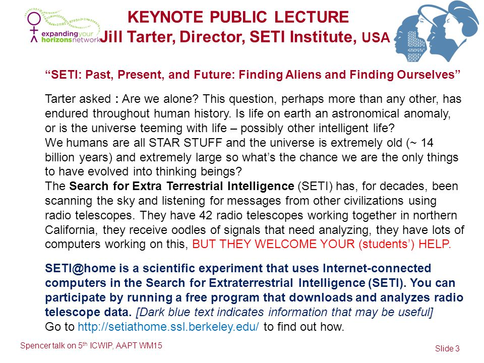 KEYNOTE PUBLIC LECTURE Jill Tarter, Director, SETI Institute, USA Slide 3 Spencer talk on 5 th ICWIP, AAPT WM15 SETI: Past, Present, and Future: Finding Aliens and Finding Ourselves Tarter asked : Are we alone.
