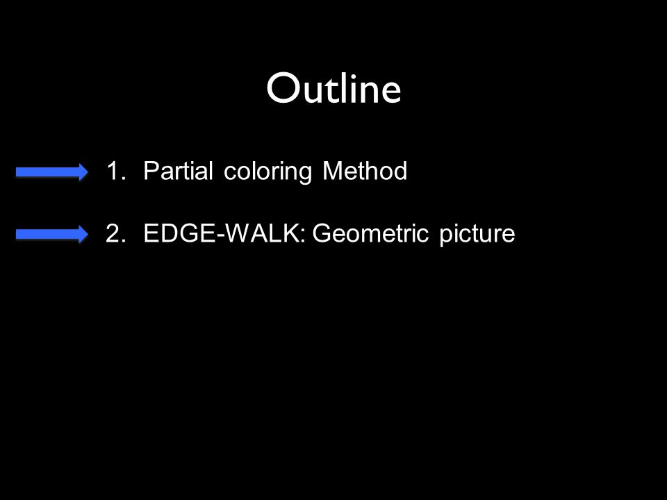 Outline 1.Partial coloring Method 2.EDGE-WALK: Geometric picture
