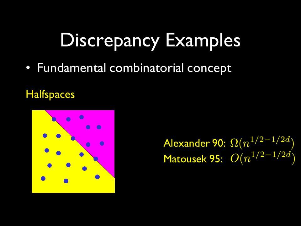 Discrepancy Examples Fundamental combinatorial concept Axis-aligned boxes Beck 81: Srinivasan 97:
