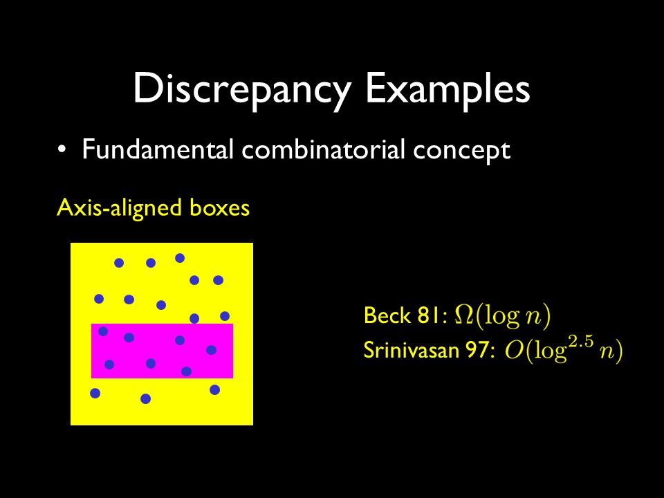 Discrepancy Examples Fundamental combinatorial concept Axis-aligned boxes Beck 81: Srinivasan 97: