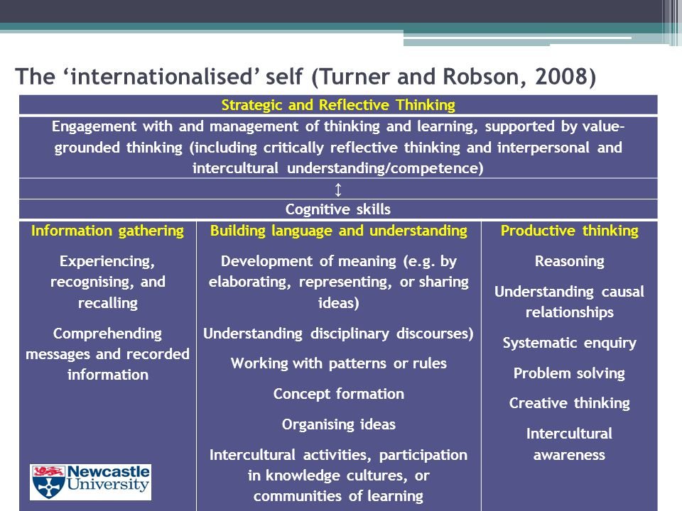 Knowledge Values Activity Dimensions of Internationalisation Cultural context people place Culture programmes