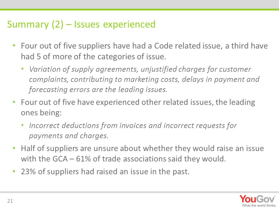 Summary (2) – Issues experienced Four out of five suppliers have had a Code related issue, a third have had 5 of more of the categories of issue.