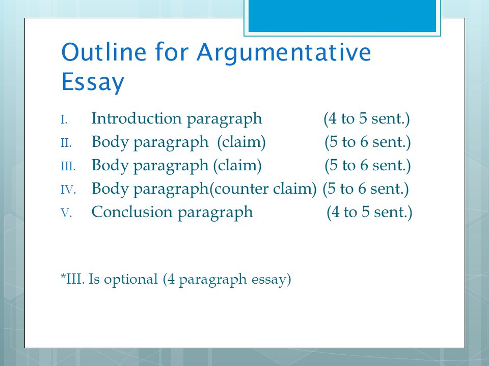 Introduction paragraph of an argumentative essay