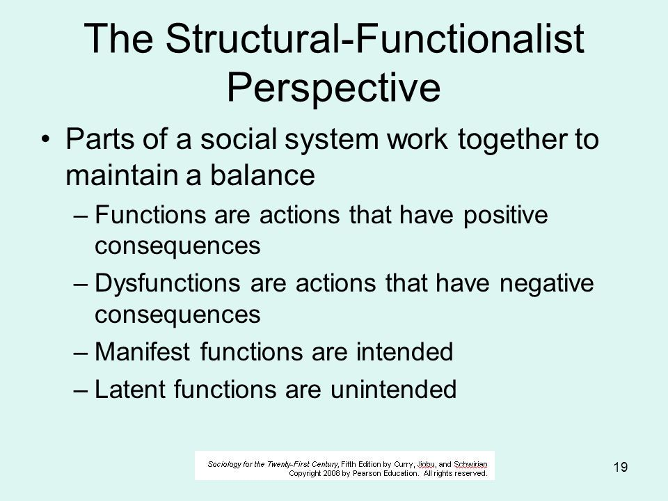 © 2006 Alan S. Berger19 The Structural-Functionalist Perspective Parts of a social system work together to maintain a balance –Functions are actions t