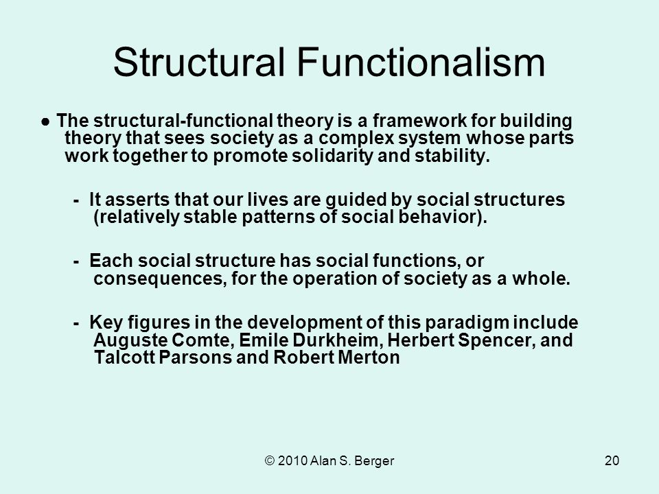 © 2010 Alan S. Berger20 Structural Functionalism ● The structural-functional theory is a framework for building theory that sees society as a complex