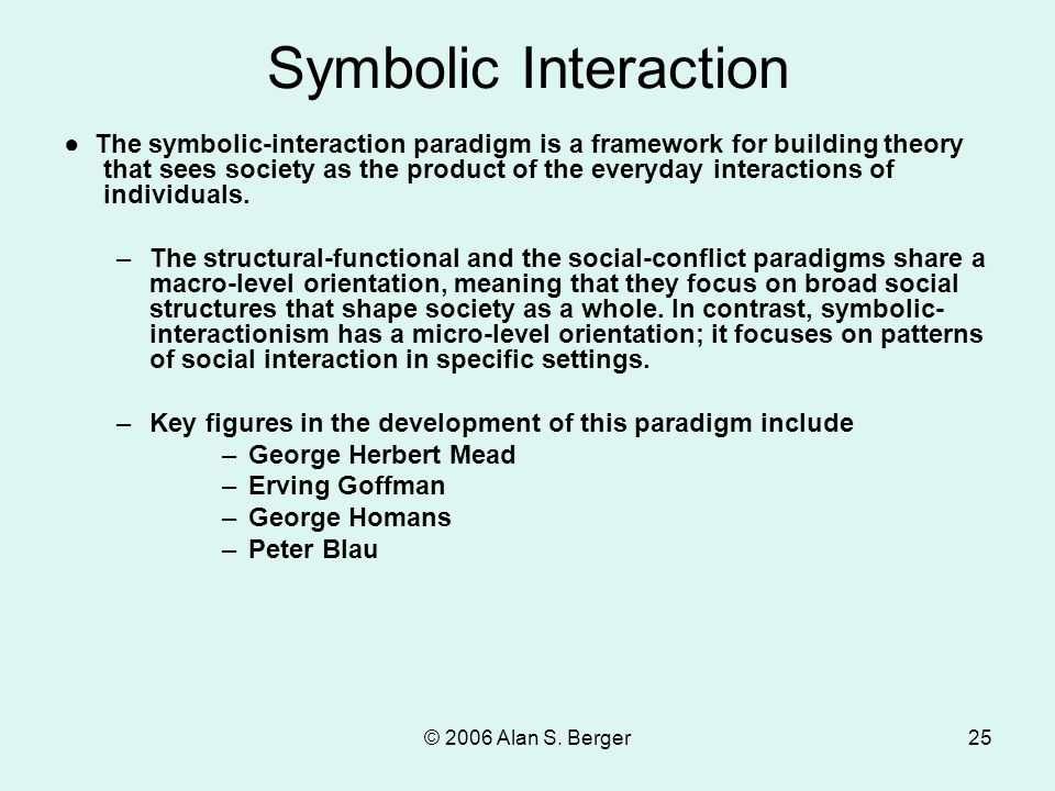 © 2006 Alan S. Berger25 Symbolic Interaction ● The symbolic-interaction paradigm is a framework for building theory that sees society as the product o