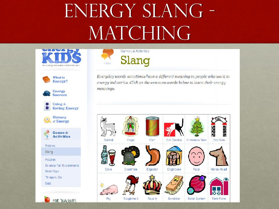 Energy Slang - Matching