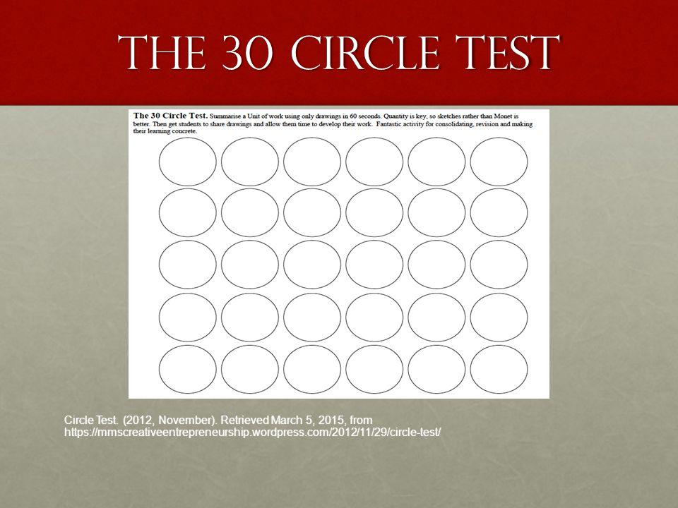 The 30 Circle test Circle Test. (2012, November). Retrieved March 5, 2015, from https://mmscreativeentrepreneurship.wordpress.com/2012/11/29/circle-te