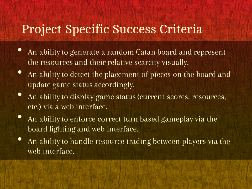 Project Specific Success Criteria An ability to generate a random Catan board and represent the resources and their relative scarcity visually. An abi