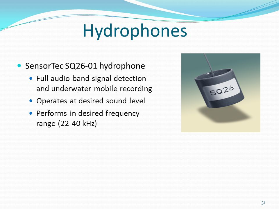 Hydrophones SensorTec SQ26-01 hydrophone Full audio-band signal detection and underwater mobile recording Operates at desired sound level Performs in desired frequency range (22-40 kHz) 31