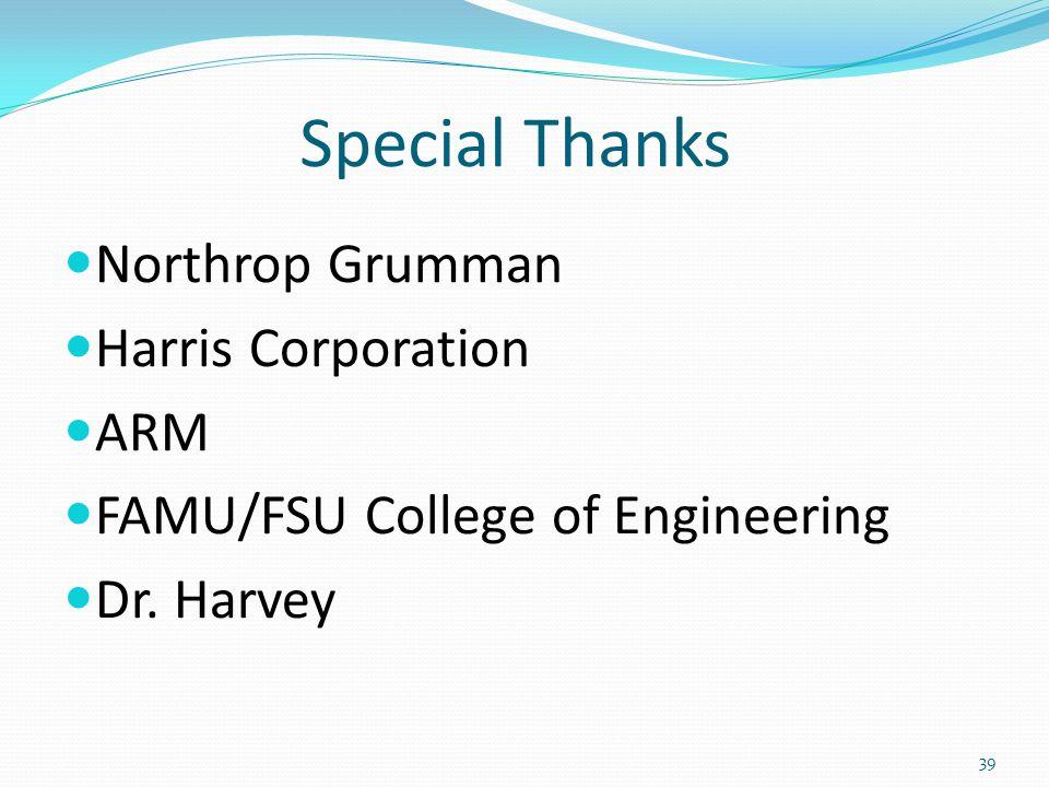 Special Thanks Northrop Grumman Harris Corporation ARM FAMU/FSU College of Engineering Dr.