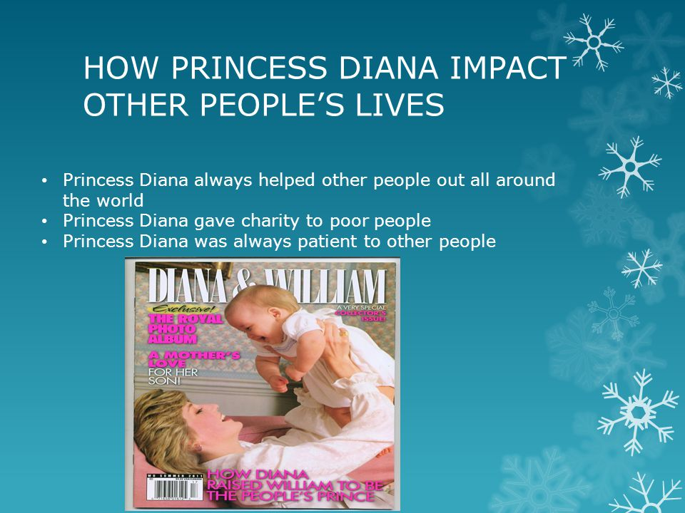 HOW PRINCESS DIANA IMPACT OTHER PEOPLE'S LIVES Princess Diana always helped other people out all around the world Princess Diana gave charity to poor