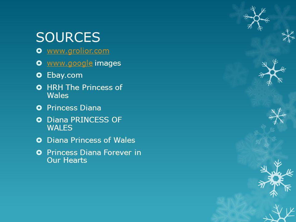 SOURCES  www.grolior.com www.grolior.com  www.google images www.google  Ebay.com  HRH The Princess of Wales  Princess Diana  Diana PRINCESS OF WALES  Diana Princess of Wales  Princess Diana Forever in Our Hearts